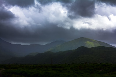 Rain clouds in the hill of St Thomas, Jamaica.