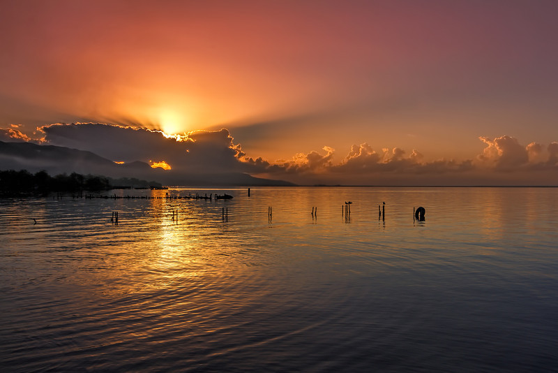 The sun rises in the East in Kingston,Jamaica