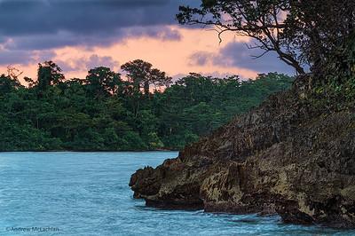 Shoreline Details at Sunrise in Port Antonio, Jamaica