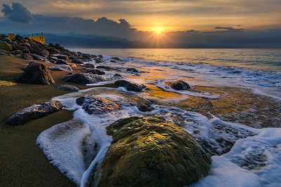 Sunrise on the beach at Palisadoes, Kingston, Jamaica.