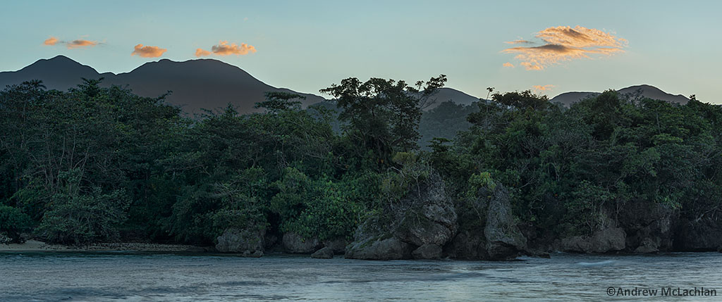 Sunset at Tutrle Cove with the Blue Mountains in the Distance. Port Antonio, Jamaica
