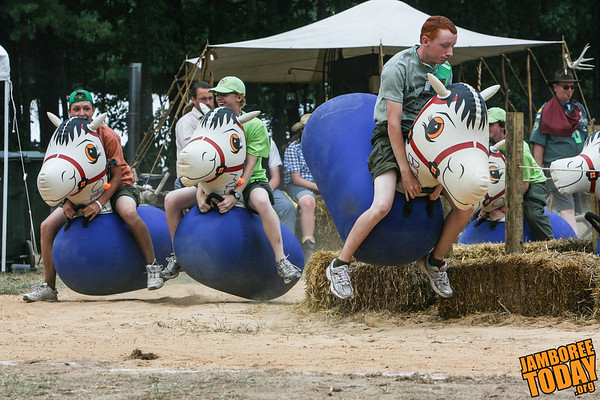 Scouts Race in Jamboree Venturing Town