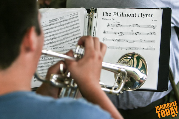 "Scout Band Rehearses ""The Philmont Hymn"""