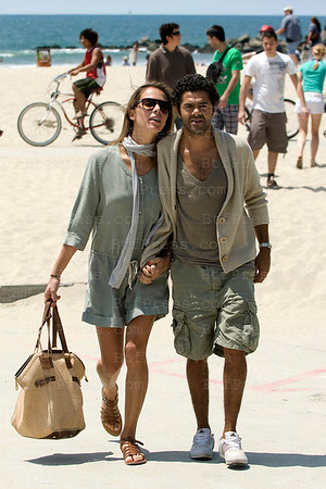 Jamel Debouze and his wife Melissa Theuriau walk in Venice Beach in Los Angeles,California.