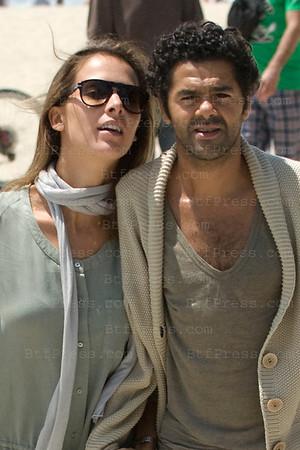 Jamel Debouze and his wife Melissa Theuriau walk in Venice Beach in Los Angeles,California.