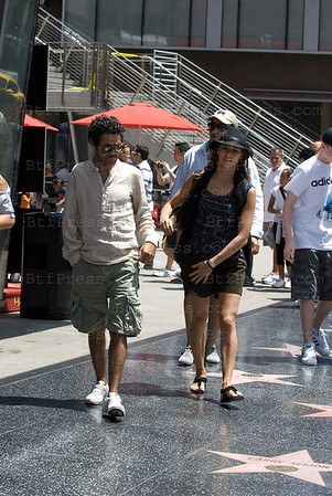 Jamel Debbouze with his wife Melissa and their son Leon Walk on the Walk of Fames in Hollywood,California.