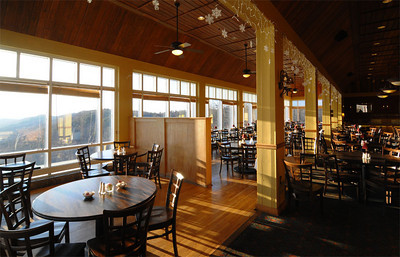 The dining room with a great view of the mountains.