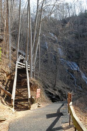 The path to the falls viewing platform, which is just ahead.  The steps to the left are part of the AT approach trail.  They end at the top of the falls as shown earlier in the fourth photo in this gallery.