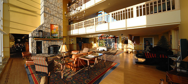 The lobby of the lodge at Amicalola Falls State Park.  We all stayed here with the guys having a room with 3 double beds and a loft - a far cry from the sleeping arrangements on the trail!