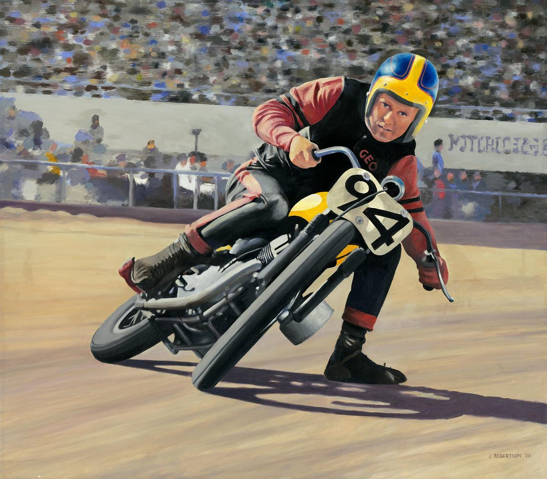 """""""George Roeder"""", 2000, Oil on canvas, 32"""" x 28"""". (from a 1964 Cycle world cover)"""