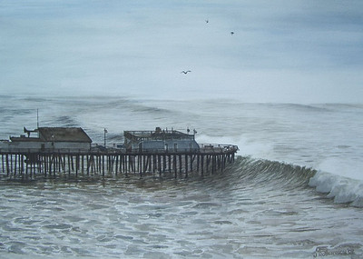 """Winter Waves at Capitola"", 2002, Watercolor, 15"" x 20.5""."