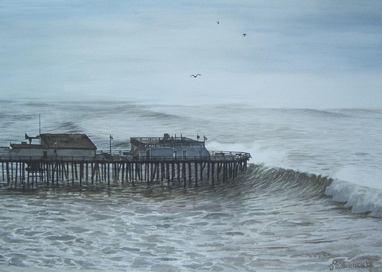 """Winter Waves at Capitola"", 2002, Watercolor, 15"" x 20.5""."