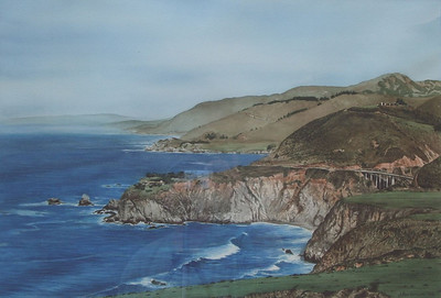 """Bixby Bridge"", 1998, Watercolor, 18"" x 27"""