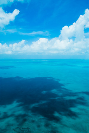 Sky and ocean from above Ambergris Caye, Belize