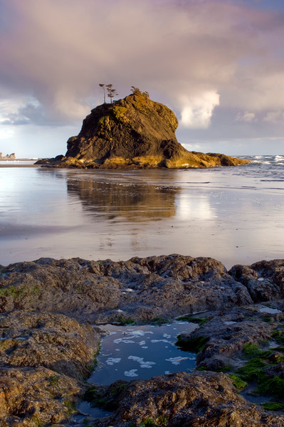 Sunset at Second Beach, Olympic National Park, Washington.