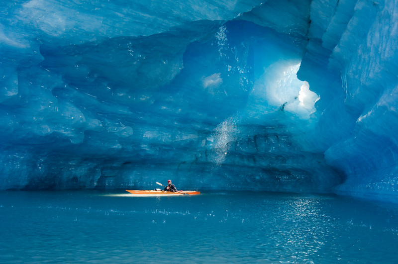 Kayaker in Ice Cave
