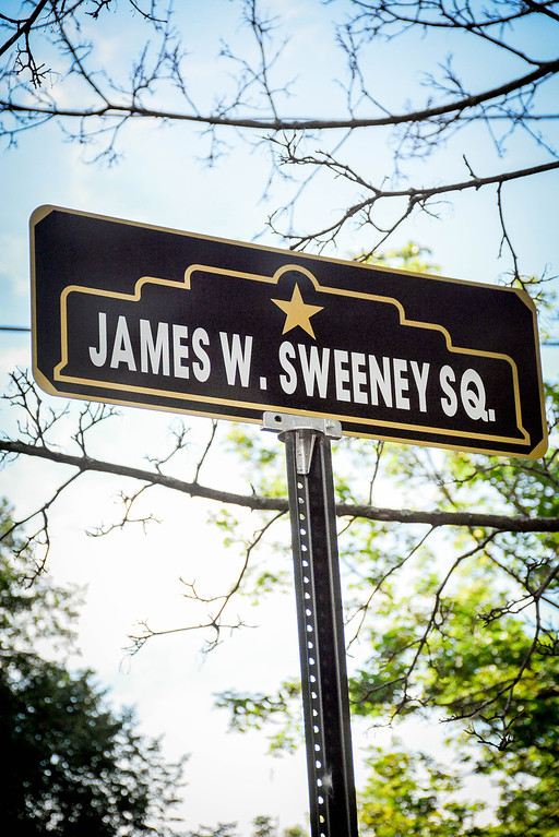 . Sign in Kittredge Park in honor of Veteran James W. Sweeney who served in WWII. SUN/Caley McGuane
