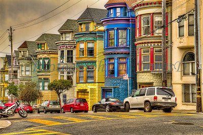 Row homes near the Haight Ashbury district of San Francisco, California