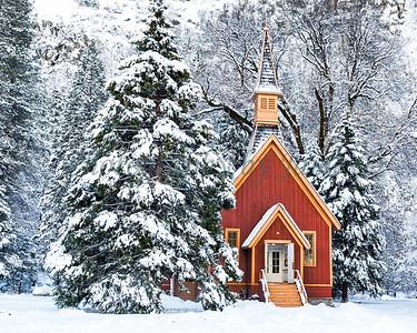 Yosemite Chapel in Winter