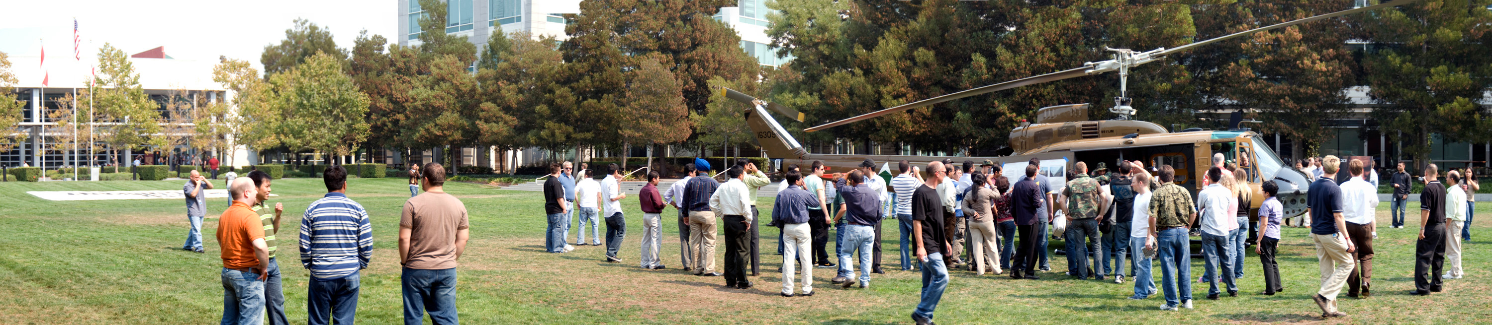 This is the first of two panoramas showing the Huey after it landed.