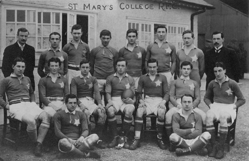 St. Mary s College R.F.C.<br /> <br /> Description: First St. Mary s team to play senior football 1911/12<br /> <br /> Trophy: n/a<br /> <br /> President: Fr. T P Hanlon CSSp<br /> <br /> Captain: Ernest Farrell<br /> <br /> Coach: J Power<br /> <br /> Mananger: L Clancy<br /> <br /> Players: Back Row: J Power, P O Neill, R Mc Grath, G O Donnell, W Nagle, T Cleary, J Doyle, L Clancy Centre Row: W Mc Gann, D O Sullivan, N Power, E Farrell, J Moriarty, T Doyle, T F Reddy. Front Row: P Hayden, F Purcell