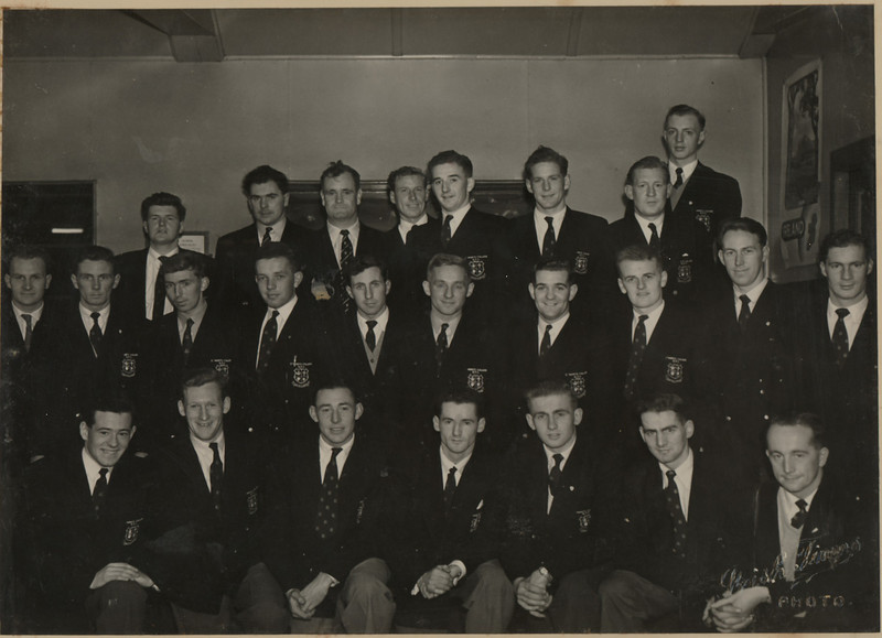 St. Mary s College R.F.C.<br /> <br /> Description: Club tour to Italy - 1954<br /> <br /> Trophy: n/a<br /> <br /> President: Rev E R Farrell PP<br /> <br /> Captain: Matt Gilsenan<br /> <br /> Players: Back Row: K Wall, M Madigan, P Belton, P Fearon, D O Sullivan, M Hockor, M Waldon, F Cogley Middle Row: J Maher, P Sheridan, D O Brien, J O Donohoe, S Dowling, M Gilsenan, J Fanagan, V Mc Govern, S Sheriday, H O Dwyer. Front Row: D Hussey, D Piggot, N Car