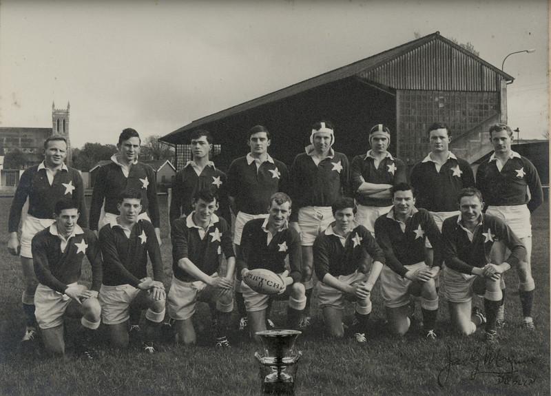 St. Mary s College R.F.C.<br /> <br /> Trophy: O'Connell Cup (J2)<br /> <br /> President: Frank Reddy<br /> <br /> Captain: Matt Jones<br /> <br /> Players: Back Row: D Tallon, A Shiels, K Corrigan, G Ryan, J Murray, F Dowling, T Bowden, J Widger, Front Row: J Hussey, N Cooke, D O Doherty, M Jones, J Kinahan, D Mc Ardle, E Deering.