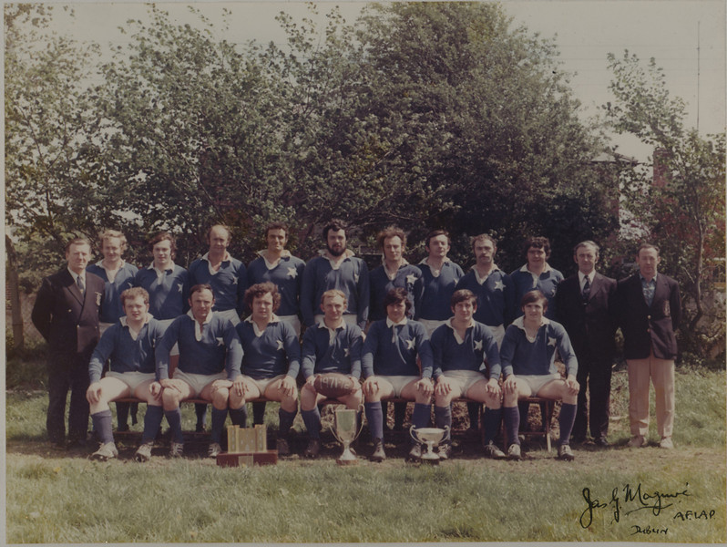 St. Mary s R.F.C.<br /> <br /> Trophy: J. B. Roche Cup<br /> <br /> President: P. Bolger<br /> <br /> Captain: J. B. Sweeney<br /> <br /> Coach: E. Carmody<br /> <br /> Mananger: S. O Byrne<br /> <br /> Players: Back Row: A. Hickie, D. Jennings, D. Hickie, D. Byrne, R. Foley, T. McCormick, C. Ryan, K. Corrigan, P. Andreucetti<br /> Front Row: A. Byrne, N. Kenny, S. Lynch, J.B. Sweeney, A. Andreucetti, F. Meehan, J. Maloney