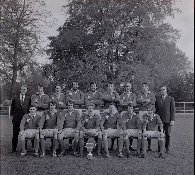 St. Mary s College R.F.C.<br /> <br /> Trophy: Metropolitan Cup (J1)<br /> <br /> President: Paddy Bolger<br /> <br /> Captain: Eamonn Mullan<br /> <br /> Coach: Bill Gray<br /> <br /> Mananger: Bill Gray<br /> <br /> Players: Back Row: P Bolger, D Mullan, M Rigney, R Foley, A N Other, C Ryan, T Deering, A N Other, B Gray, Front Row: T Young, S Finley, A N Other, E Mullan, D Moloughney, J Mc Donnell, C O Connell,