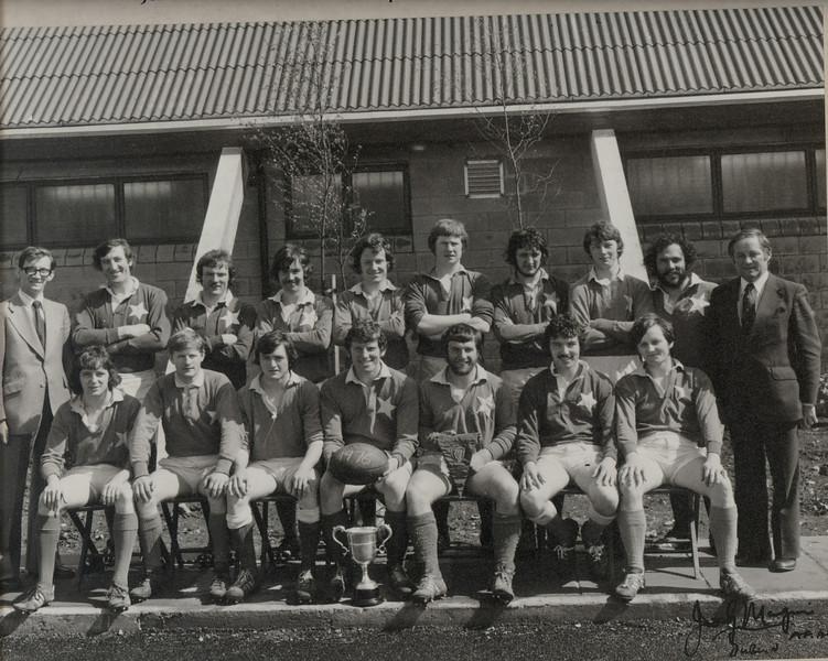 St. Mary s R.F.C.<br /> <br /> Trophy: O'Connor Cup (J5)<br /> <br /> President: M. Gilsenan<br /> <br /> Captain: F. O Rourke<br /> <br /> Coach: D. White<br /> <br /> Players: Back Row: D. White, P. Kearney, C. Murray, D. Scanlon, D. Nevin, F. O Dea, S. O Doherty, V. O Gorman, K. Andreas, M.Gilsenan<br /> Front Row: G. Carroll, W. Byrne, R. O Donohue, F. O Rourke, S. Brennan, B. Spring, P. Donnelly