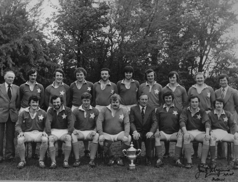 St. Mary s R.F.C.<br /> <br /> Trophy: Fox Cup (J6)<br /> <br /> President: M. G. Gilsenan<br /> <br /> Captain: P. McInerney<br /> <br /> Coach: J. Kinahan<br /> <br /> Mananger: P. Jennings<br /> <br /> Players: Back Row: P. Jennings, J. Gallagher, C. Sexton, J. Curran, G. Geough, G. McDonald, G. Moloney, B. O Sullivan, J. Kinahan<br /> Front Row: C. O Donnell, D. Brown, J. Norton, P. McInerney, M.G. Gilsenan, J. Fair, A. Levins, K. Kinahan