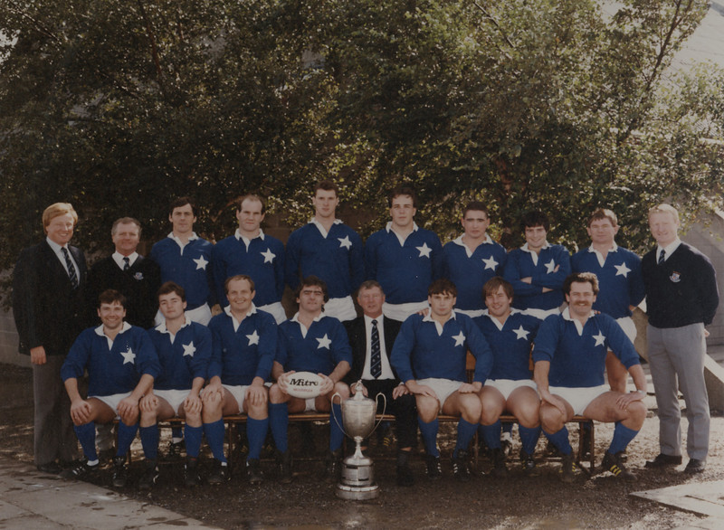 St. Mary s R.F.C.<br /> <br /> Trophy: Leinster Senior Cup<br /> <br /> President: L. B. Roche<br /> <br /> Captain: N. McCarthy<br /> <br /> Coach: R. O Connor<br /> <br /> Mananger: T. Young<br /> <br /> Players: Back Row: T. Young, G. Maher, S. Hennessey, M. Tarpey, K. Egan, K. Potts, T. Gillen, V. Cunningham, C. Fitzgerald, R. O Connor<br /> Front Row: T. Kennedy, J. Cullen, D. Fanning, N. McCarthy, L.B. Roche, J. Kennedy, D. Dowling, D. Gardner
