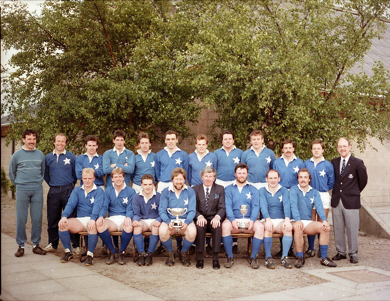 St. Mary s College R.F.C.<br /> <br /> Trophy: n/a<br /> <br /> President: Jim Murray<br /> <br /> Captain: John Boyle<br /> <br /> Players: Back Row: B Spring, D Hooper, C Quinn, P Conlon, N Kenny, D Donohoe, A Mc Evoy, G Mc Gibney, J Curran, J Ebbs, P MacGiollariogh, G Tracey, Front row: R Lyons,C Cooke, J Carvill, J Boyle, J Murray, B Shortle, K Conboy, J Lynch.