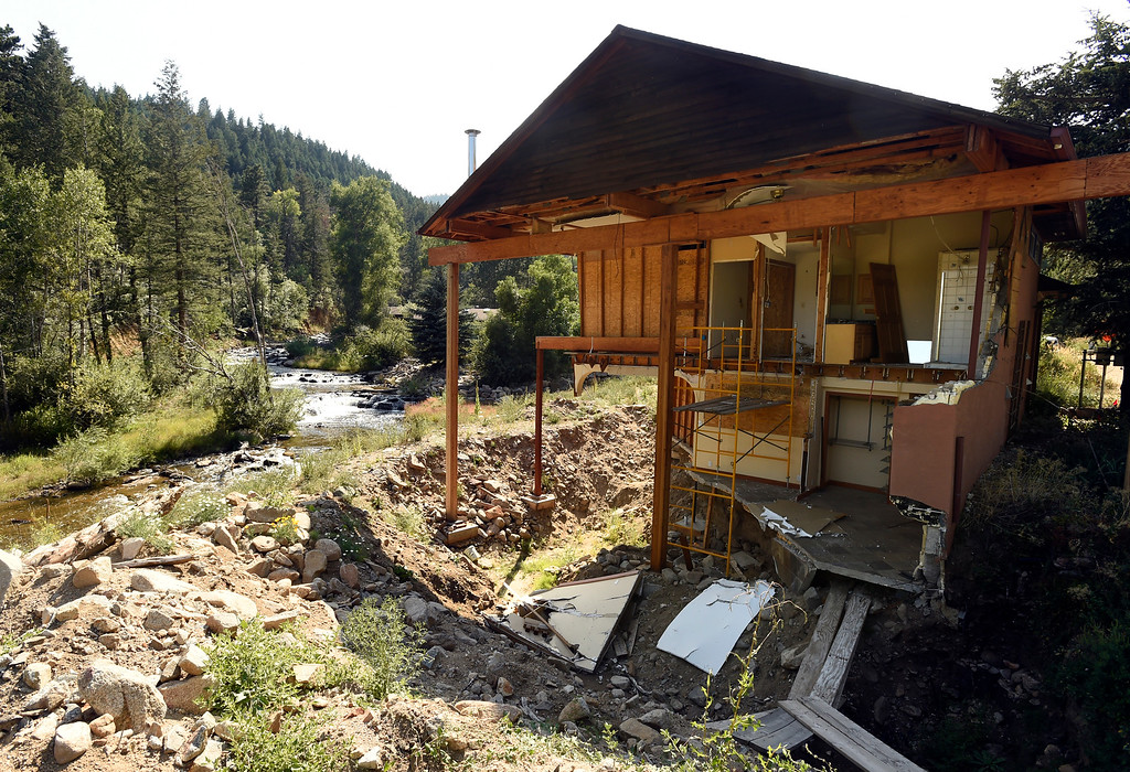 . A home destroyed by the 2013 flood still stands on Thursday in Jamestown. For more photos of flood repair work and local activity go to dailycamera.com Jeremy Papasso/ Staff Photographer 8/09/18