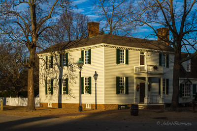James Geddy House in Late Afternoon - with Christmas Wreaths