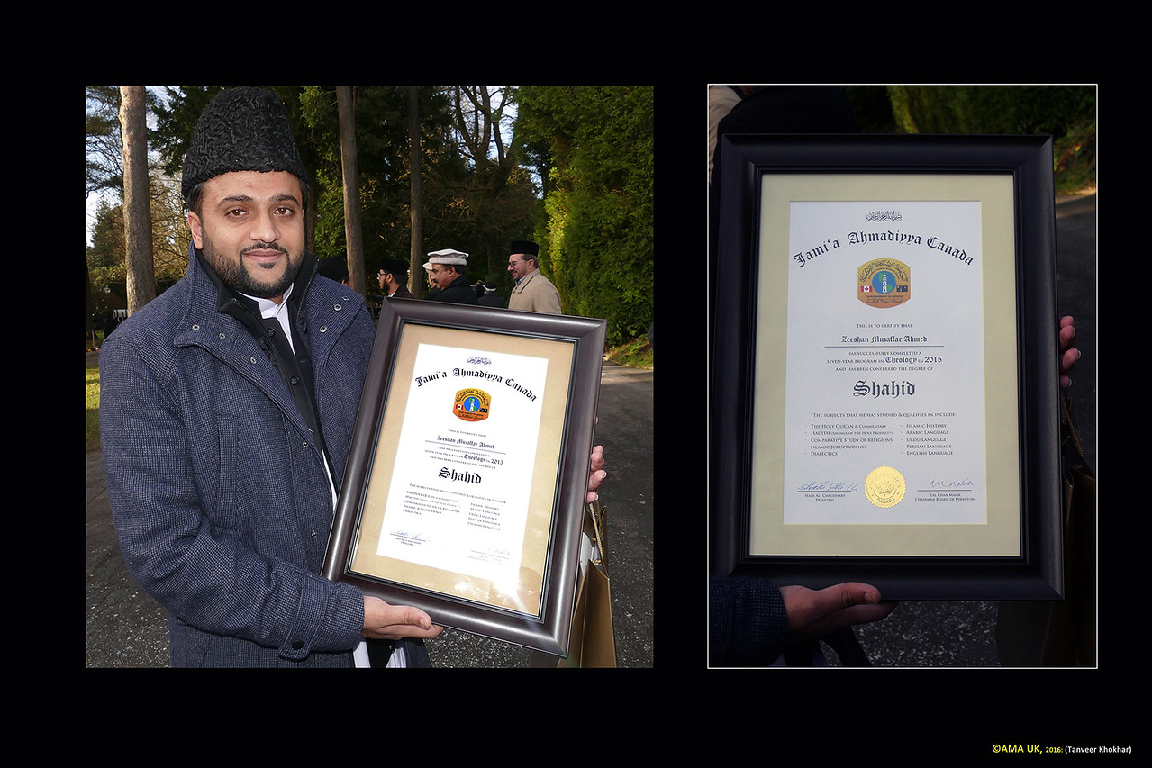 Zeeshan Muzaffar Ahmed - one of the Canadian graduates of 2015 with his ''Shahid' degree. The 'Shahid' Degree is a seven year course and is the only offered in the UK Jamia. In some Jamias, a four year course is offered which is called the Mubashar Degree. The curriculum for the Jamia Ahmadiyyas around the globe is nearly same and is organised and compiled by scholars of the Ahmadiyya Muslim Community. The only differences are in the regional languages taught which are according to the locations of the institutions.
