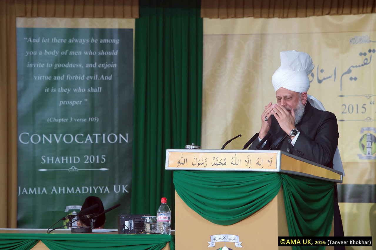 "Just before silent prayer His Holiness said: ""I pray that you never do anything that reflects badly or defames the name of the Ahmadiyya Muslim Community and the Promised Messiah (peace be on him). Rather, may you all further enlighten the name of our Community through your deeds and pious conduct."
