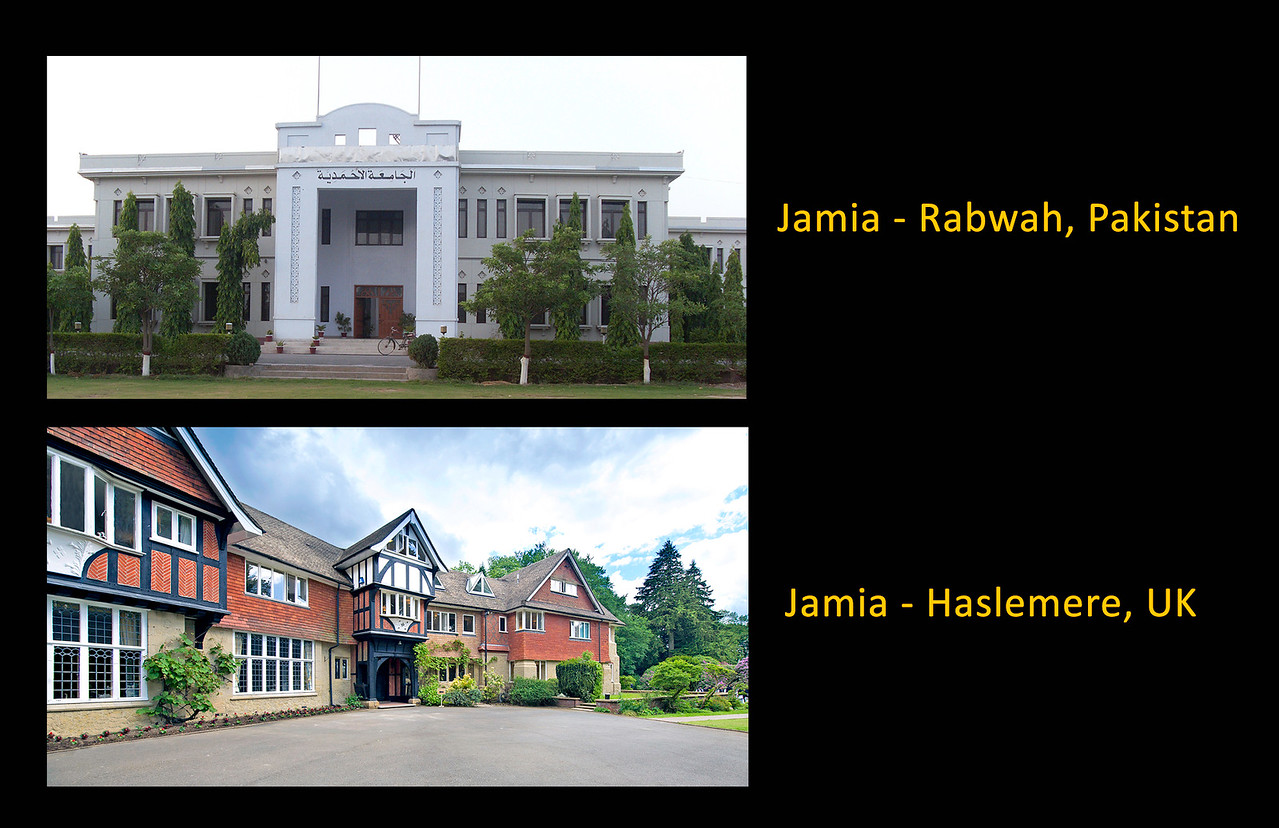 The Jamia is an International Islamic seminary and educational institute with campuses in various parts of the including UK, Germany, Canada and Pakistan  The foundations of Jamia Ahmadiyya were laid by the founder of the Ahmadiyya Muslim Community Mirza Ghulam Ahmad (peace be upon him), when he expressed the need for a madrassa for Ahmadi Muslims so that a new generation of Ahmadi scholars could be trained. This led to the creation of Talim-ul-Islam College in Qadian, India, in 1898. The theology section was later separated and inaugurated as Jamia Ahmadiyya Qadian on 20 May 1928 by the Second Khalifa of the Ahmadiyya Muslim Community. Mirza Bashir-ud-Din Mahmood Ahmad.  Following the Partition of the Indian subcontinent, the Community relocated its headquarters to Rabwah, Pakistan. Keeping in view the needs of the Community in Pakistan, Jamia Ahmadiyya Rabwah was established and further campuses have been opened in many countries throughout the world.