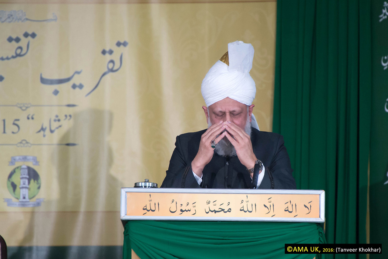 "His Holiness further stated before silent prayer:  ""May Allah enable you to be successful in all your good endeavours and to grow ever closer to God Almighty."""
