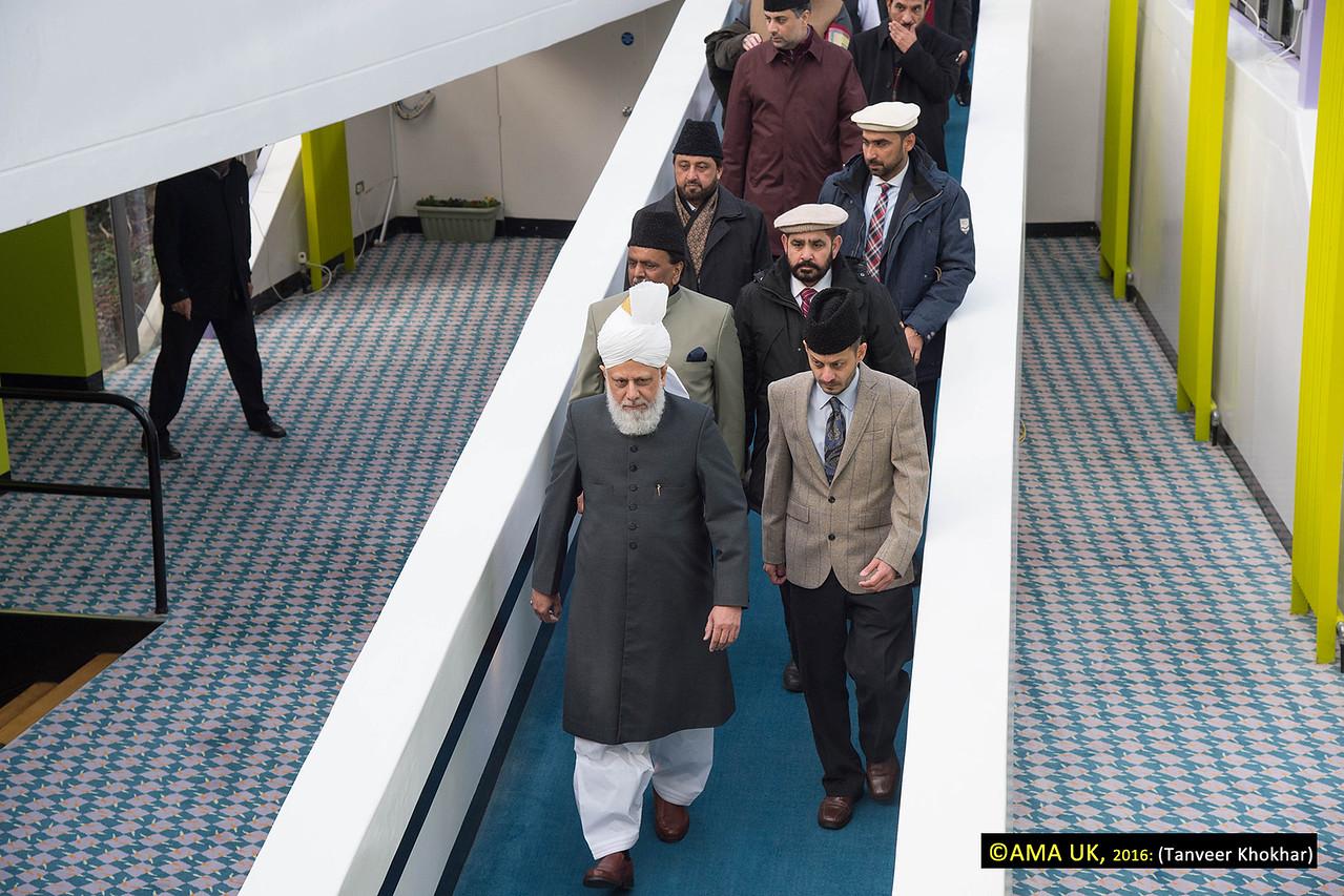 The World Head of the Ahmadiyya Muslim Community, the Fifth Khalifa (Caliph), His Holiness, Hazrat Mirza Masroor Ahmad arriving at the Jamia.