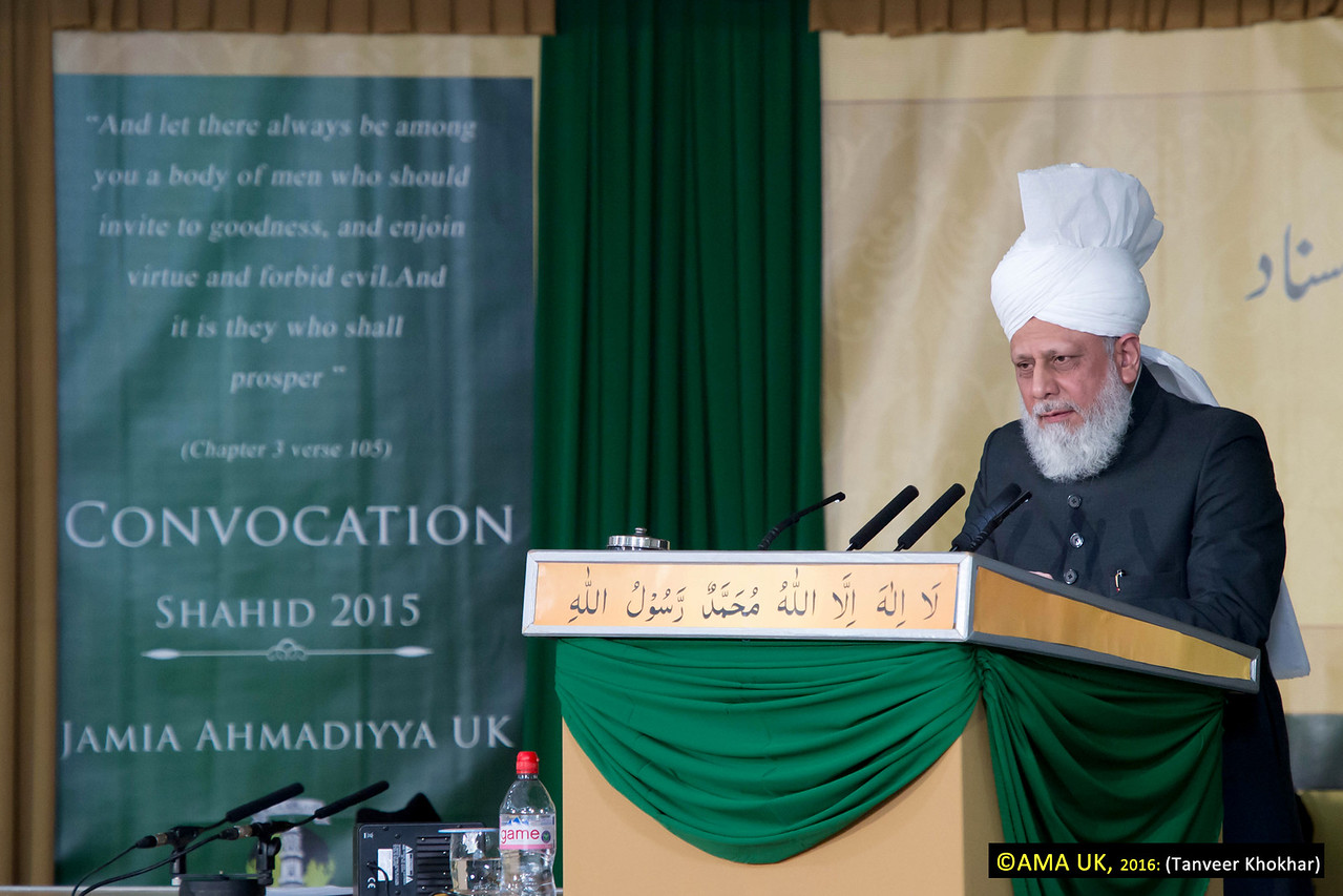 Following the presentation, Hazrat Mirza Masroor Ahmad delivered a faith-inspiring address, in which he said that the young missionaries were now entering a new chapter in their lives as they moved on from being students to being representatives of the Ahmadiyya Muslim Community