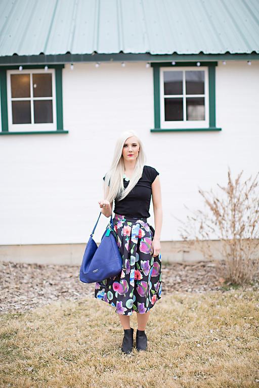 Black floral skirt