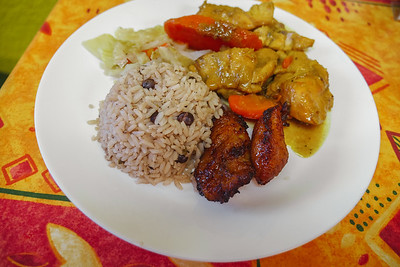 Rice & Peas, Fried Plantains, Curry Chicken - Jamrock Cuisine Restaurant