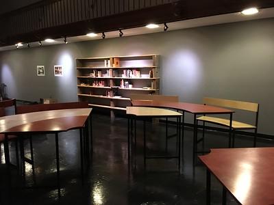 Bookshelves and circlular tables