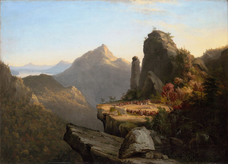 """Thomas Cole<br /> <br /> American, born England, 1801–1848<br /> <br /> Scene from """"The Last of the Mohicans,"""" Cora Kneeling at the Feet of Tamenund, 1827<br /> <br /> Oil on canvas; 25 3/8 x 35 1/16 in.<br /> <br /> Wadsworth Atheneum Museum of Art<br /> <br /> Bequest of Alfred Smith, 1868.3"""