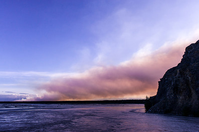 Smoke from the flared up Mississippi Fire on the other side of the river from Delta Junction, Alaska.