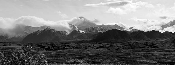 Alaska Range, Denali National Park, Alaska - Black and White