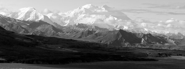 Denali, The Great One, and Alaska Range, Denali Park, Alaska - Black and White