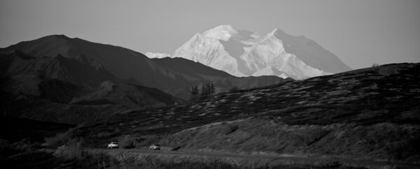 Denali, The Great One, and Park Road, Denali Park, Alaska - Black and White