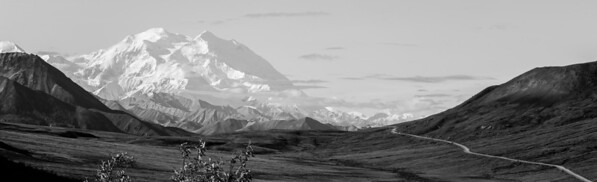 Denali, The Great One, and Park Road, Denali Park, Alaska - Black and White
